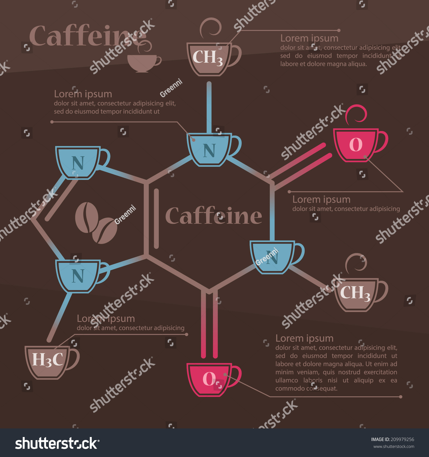stock-vector-caffeine-chemical-molecule-