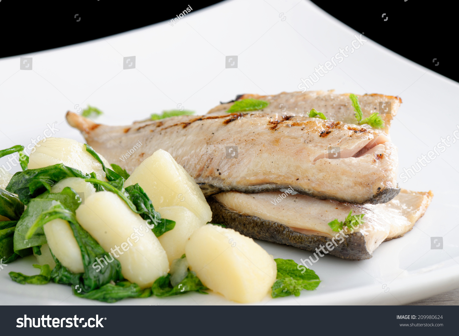Grilled white fish fillets potato spinach stock photo for Grilled white fish recipes