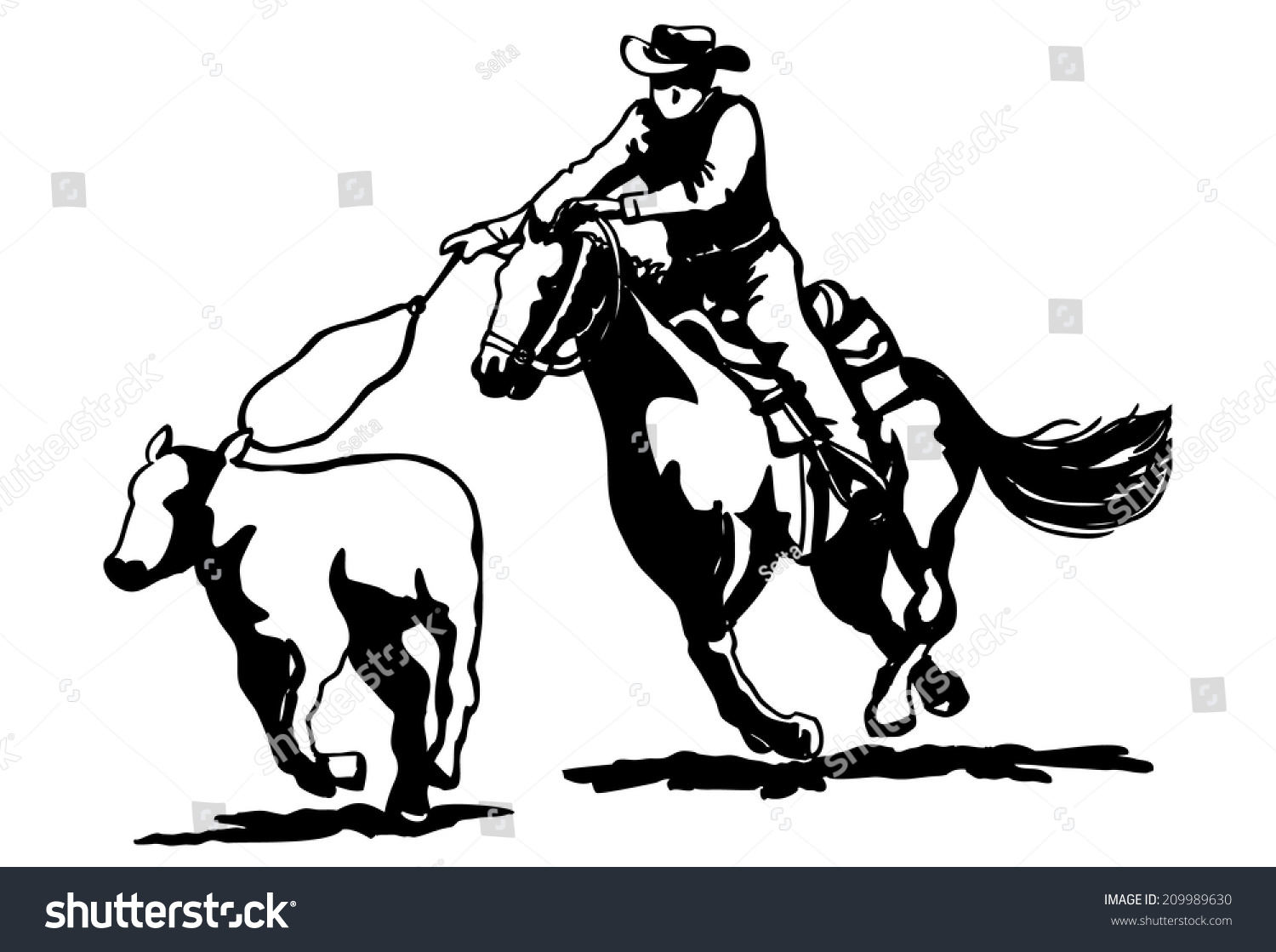 Calf Roping Clipart Stock Vector (2018) 209989630 - Shutterstock for Calves Clipart  83fiz