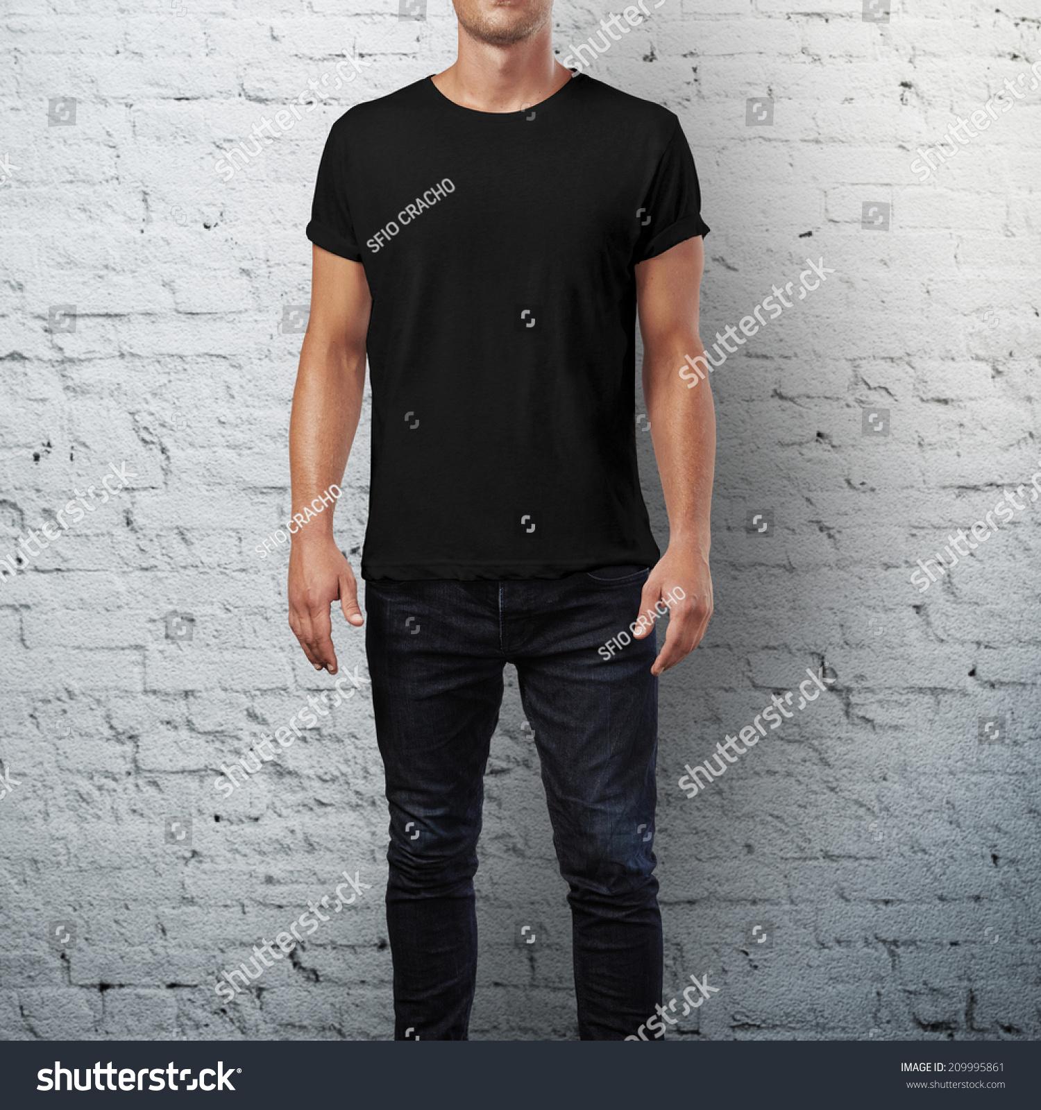Man Wearing Black Tshirt Brick Wall Stock Photo 209995861 ...