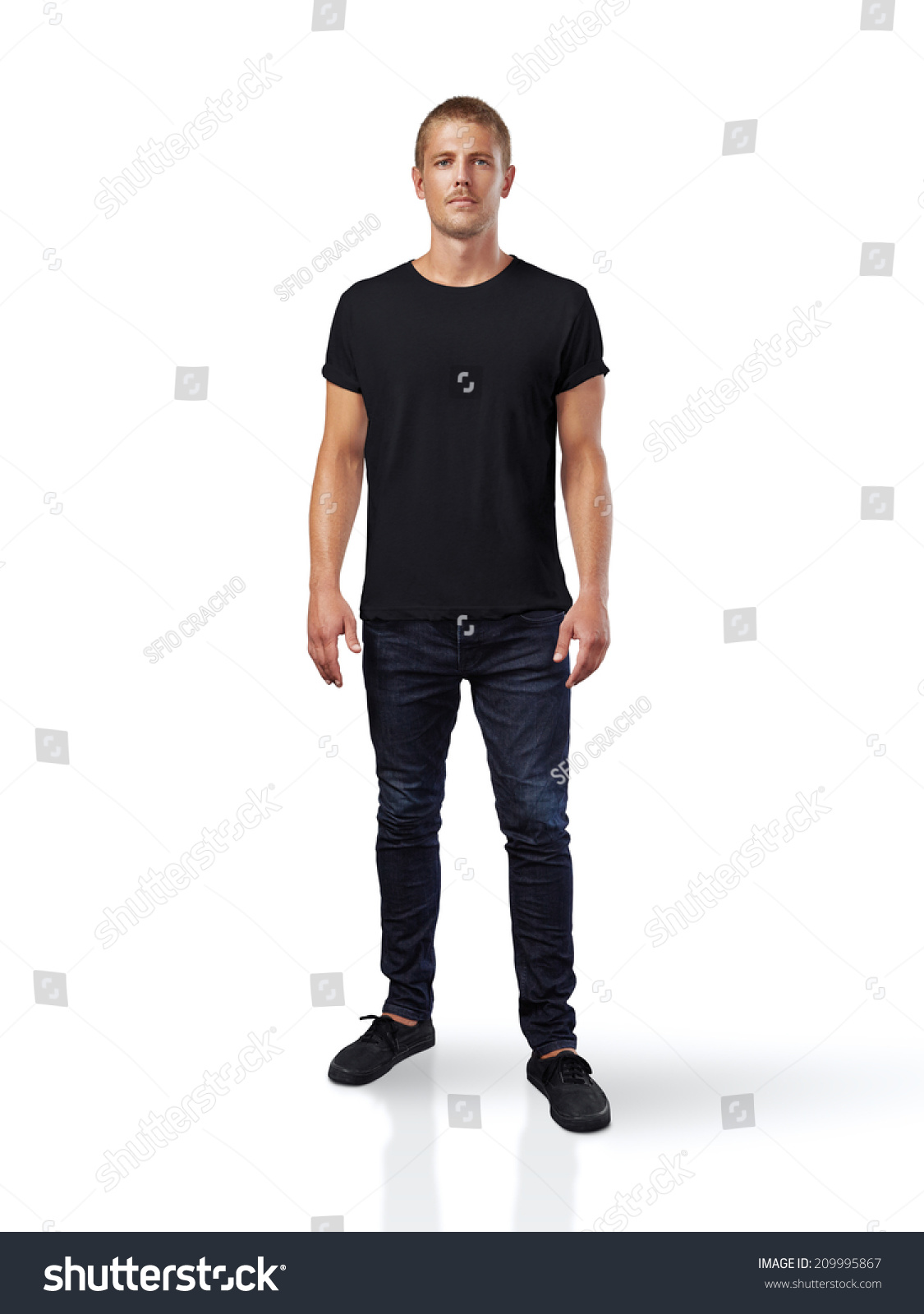 Man Wearing Black T Shirt