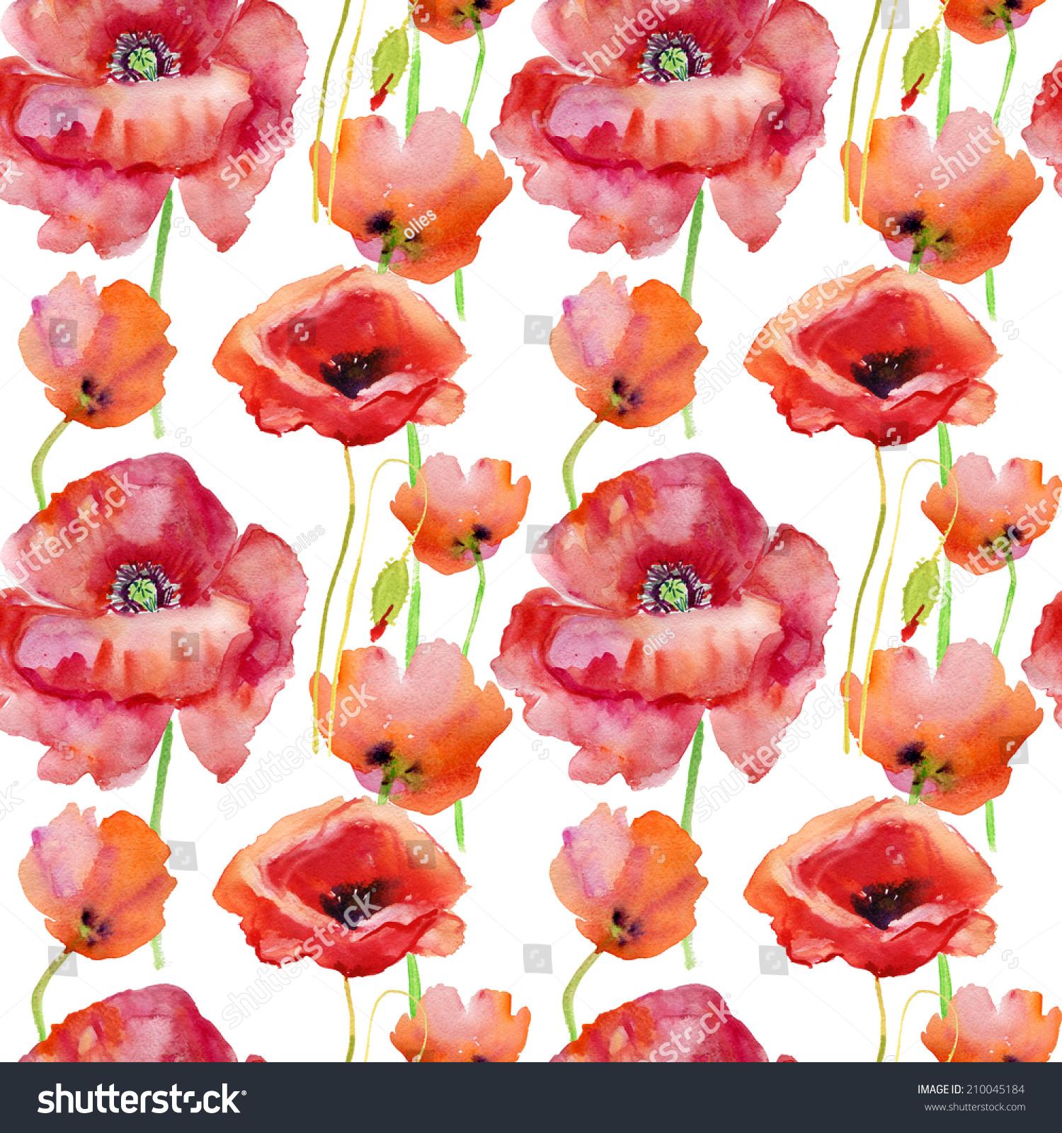 Seamless Pattern Poppy Flowers Watercolor Illustration Stock