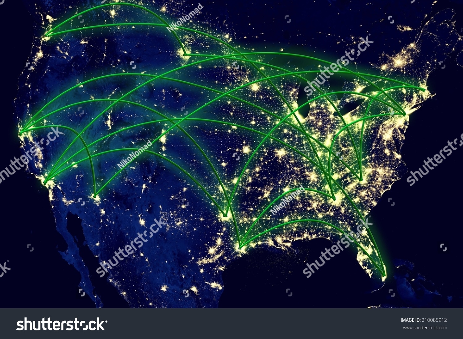Map Of Usa At Night.United States Network Night Map Earth Stock Photo Edit Now