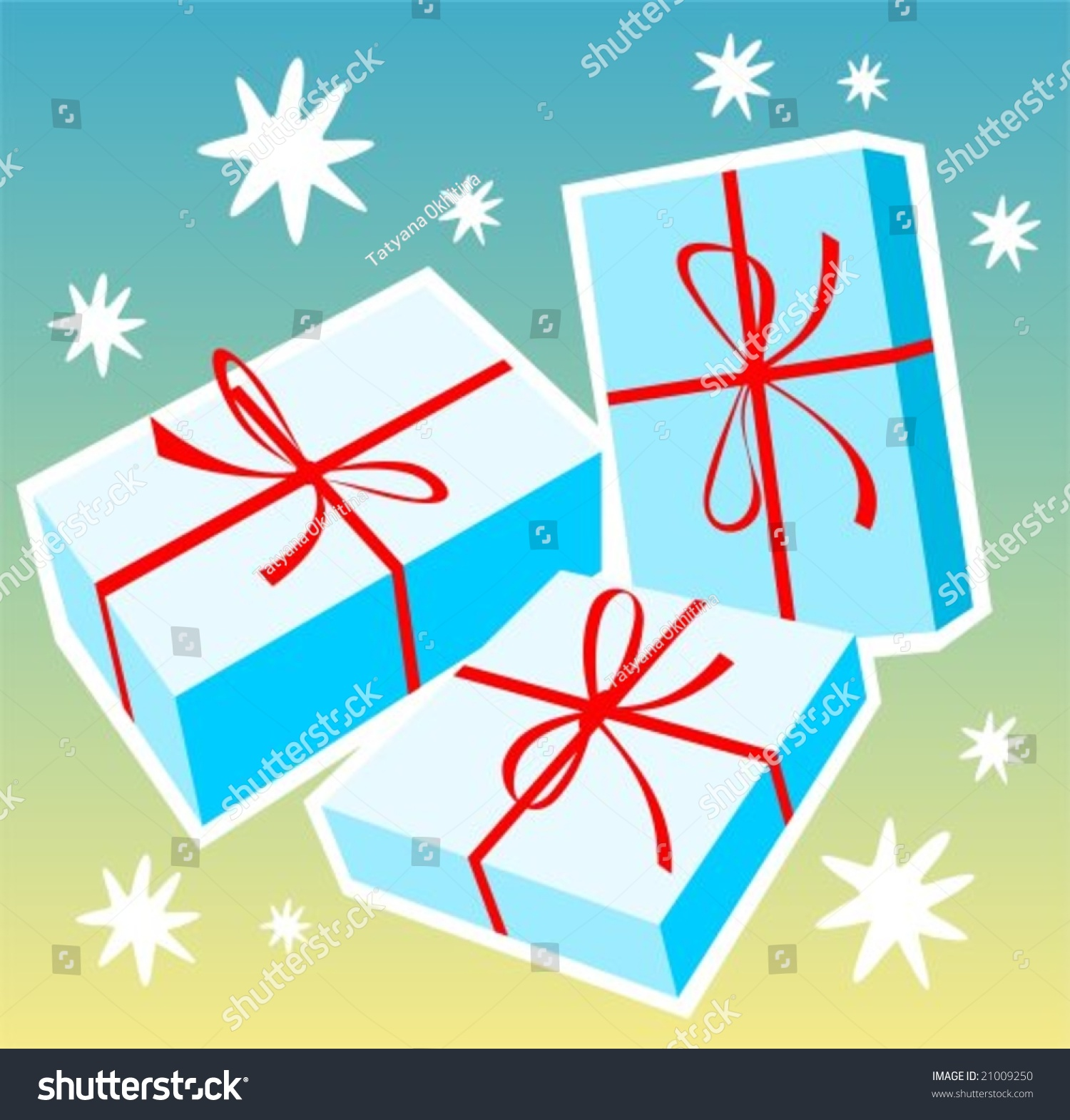 Cartoon Three Gift Boxes On Blue Stock Vector 21009250 - Shutterstock