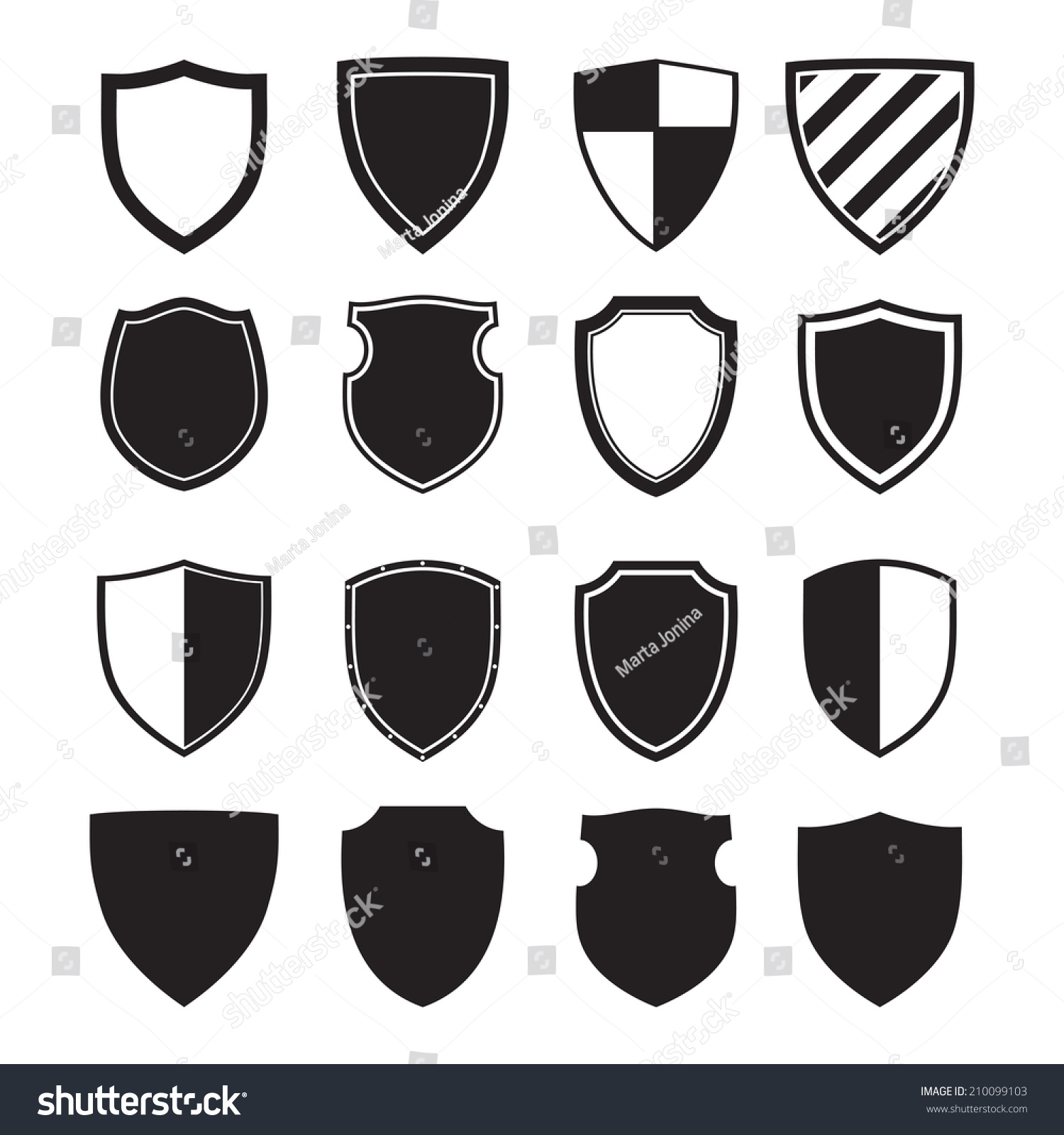 Shield Silhouettes Signs Symbols Safety Security Stock Vector