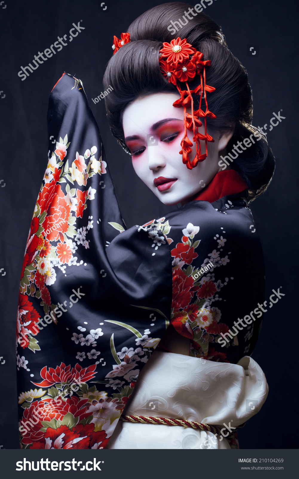 Young Pretty Geisha Kimono Sakura Decoration Stock Photo