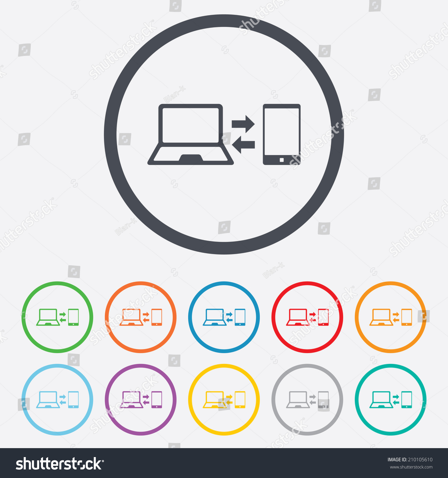 Synchronization sign icon notebook smartphone sync stock vector notebook with smartphone sync symbol data exchange round circle buttons biocorpaavc