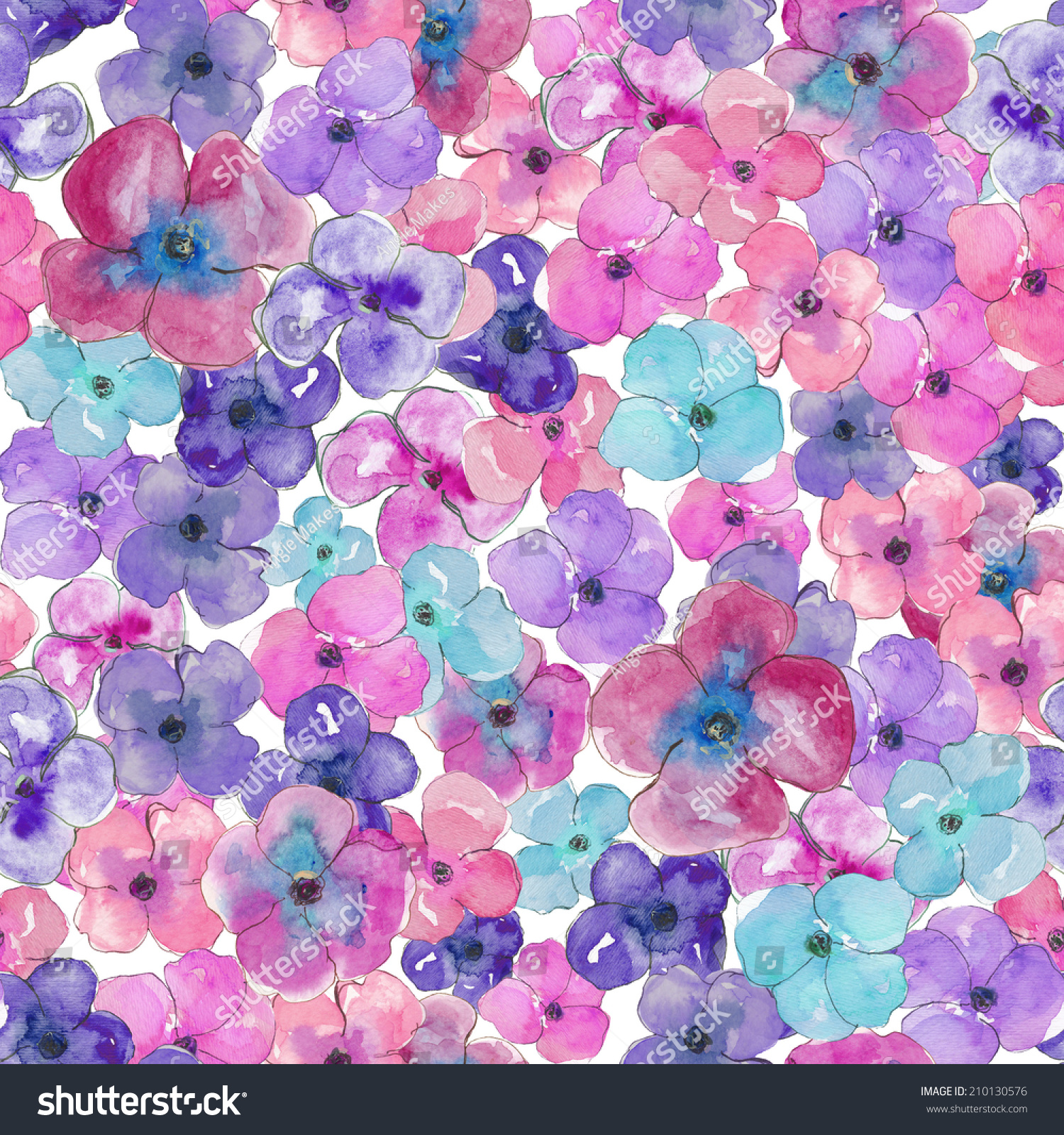 Purple blue seamless watercolour pansies background stock purple and blue seamless watercolour pansies background mightylinksfo
