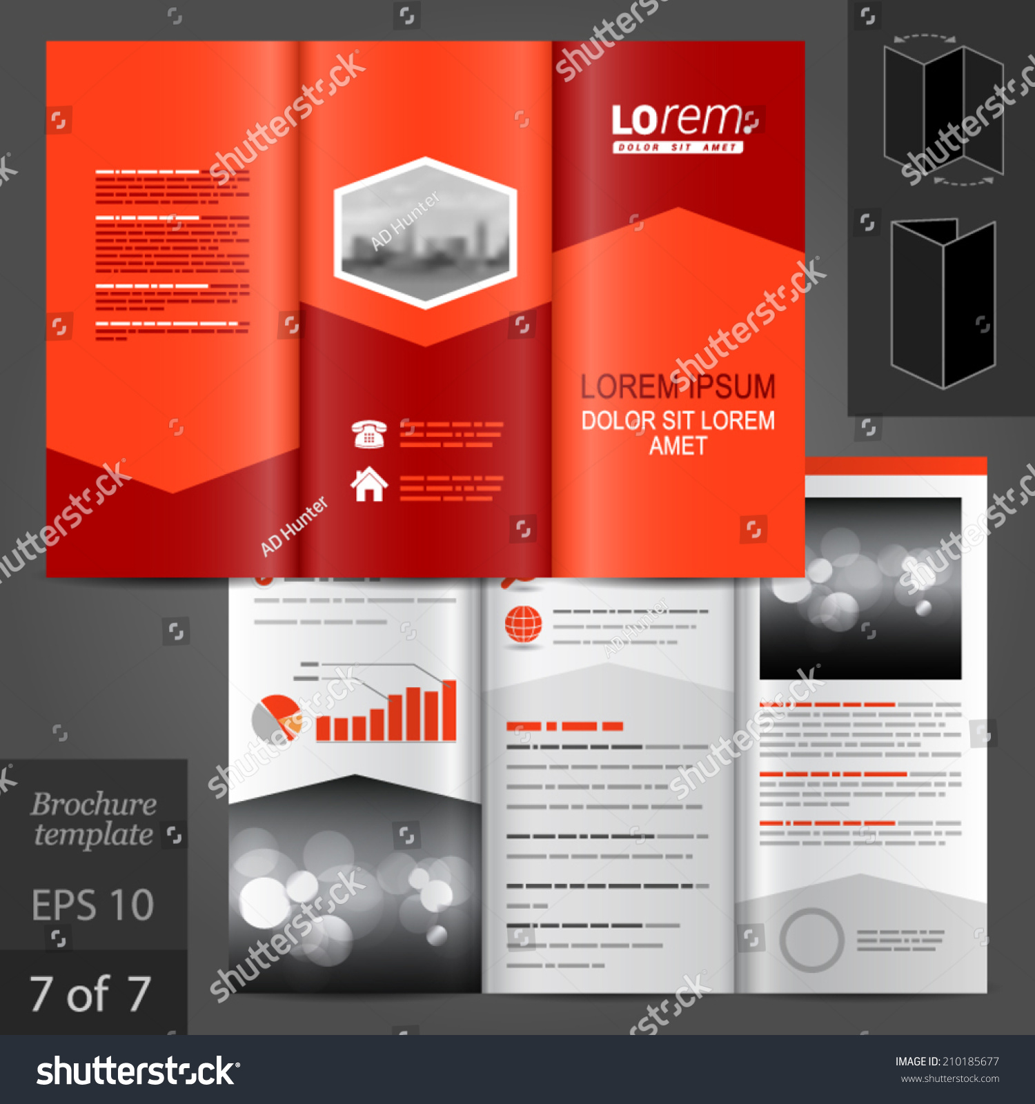 Red business vector brochure template design stock vector for Red brochure template