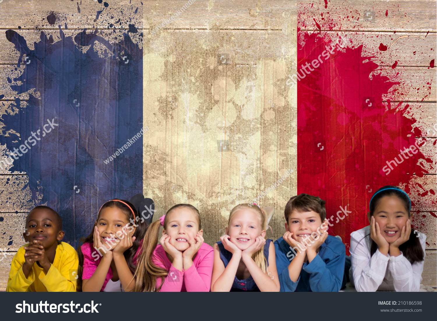 Grunge Camera Effect : Cute pupils smiling camera against france stock photo edit now