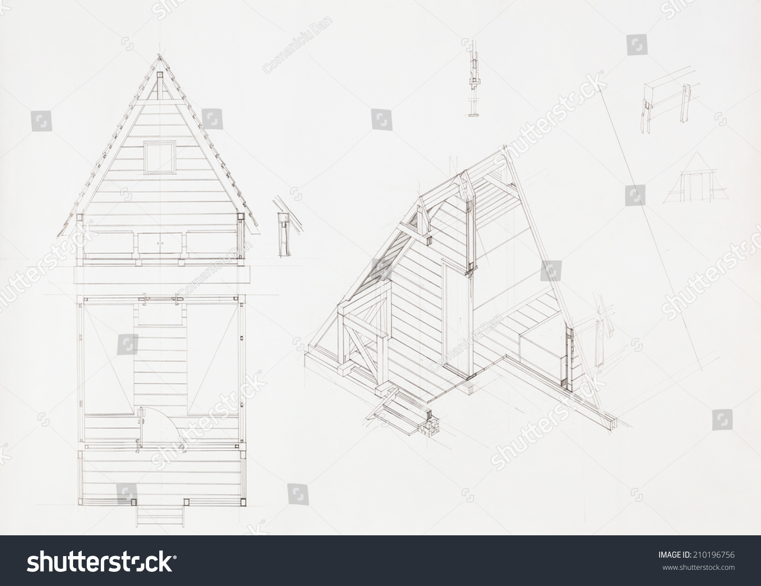 Attic drawing Haunted House Architectural Blueprint Of House With Attic Drawn By Hand Royalty Free Stock Illustration Of Architectural Blueprint House