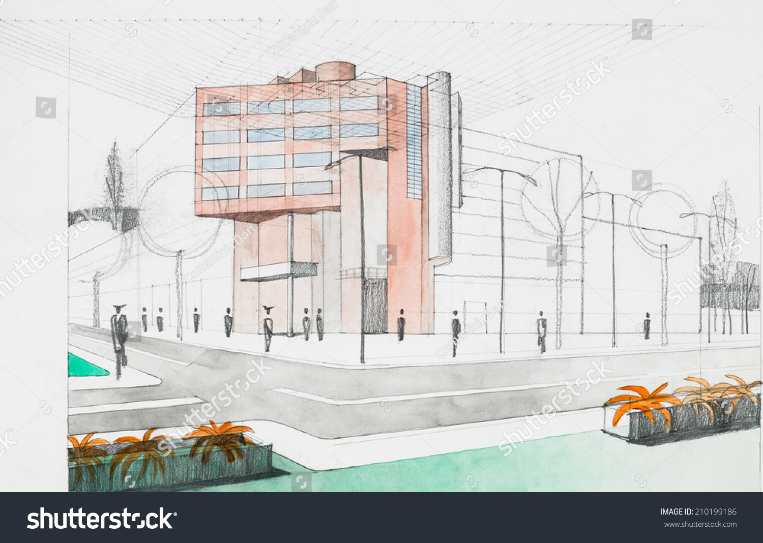 Hand Drawing Architectural Perspective Modern Building Stock - Modern building sketches