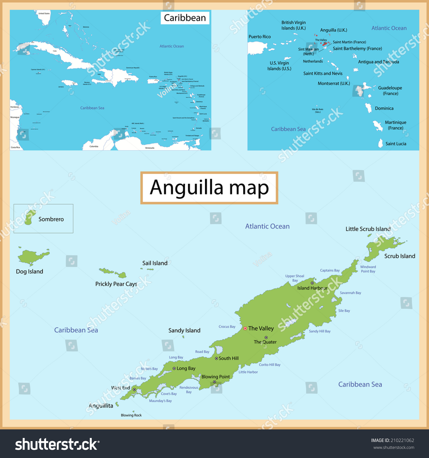 Map Anguilla Drawn High Detail Accuracy Stock Vector 210221062