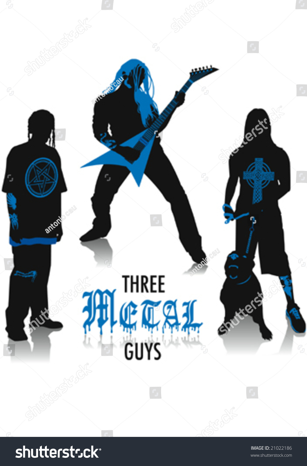 Two-Tone Silhouettes Of Three Heavy-Metal Guys, Part Of A ...