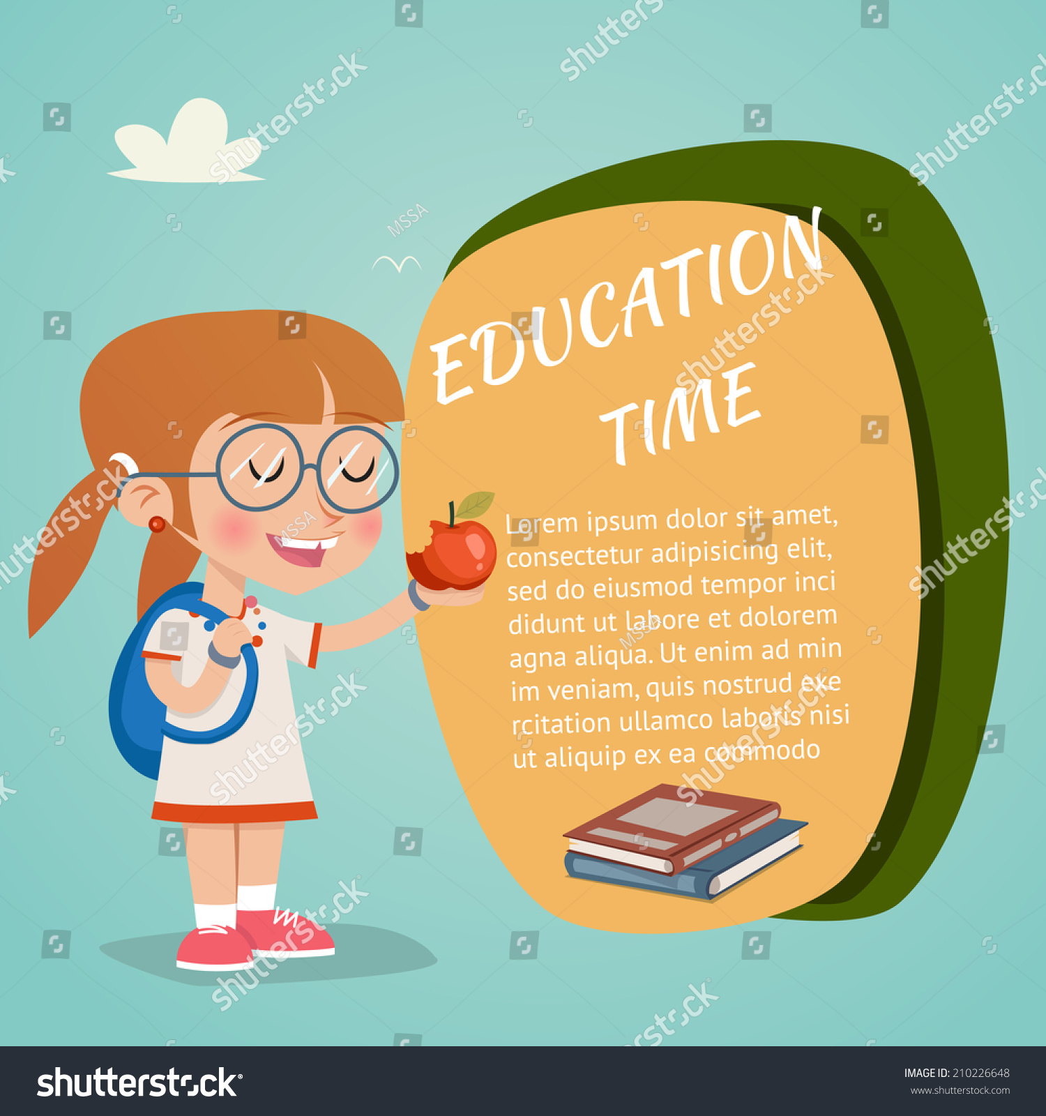Vector Education Poster Happy Girl Holding Stock Vector 210226648 ...