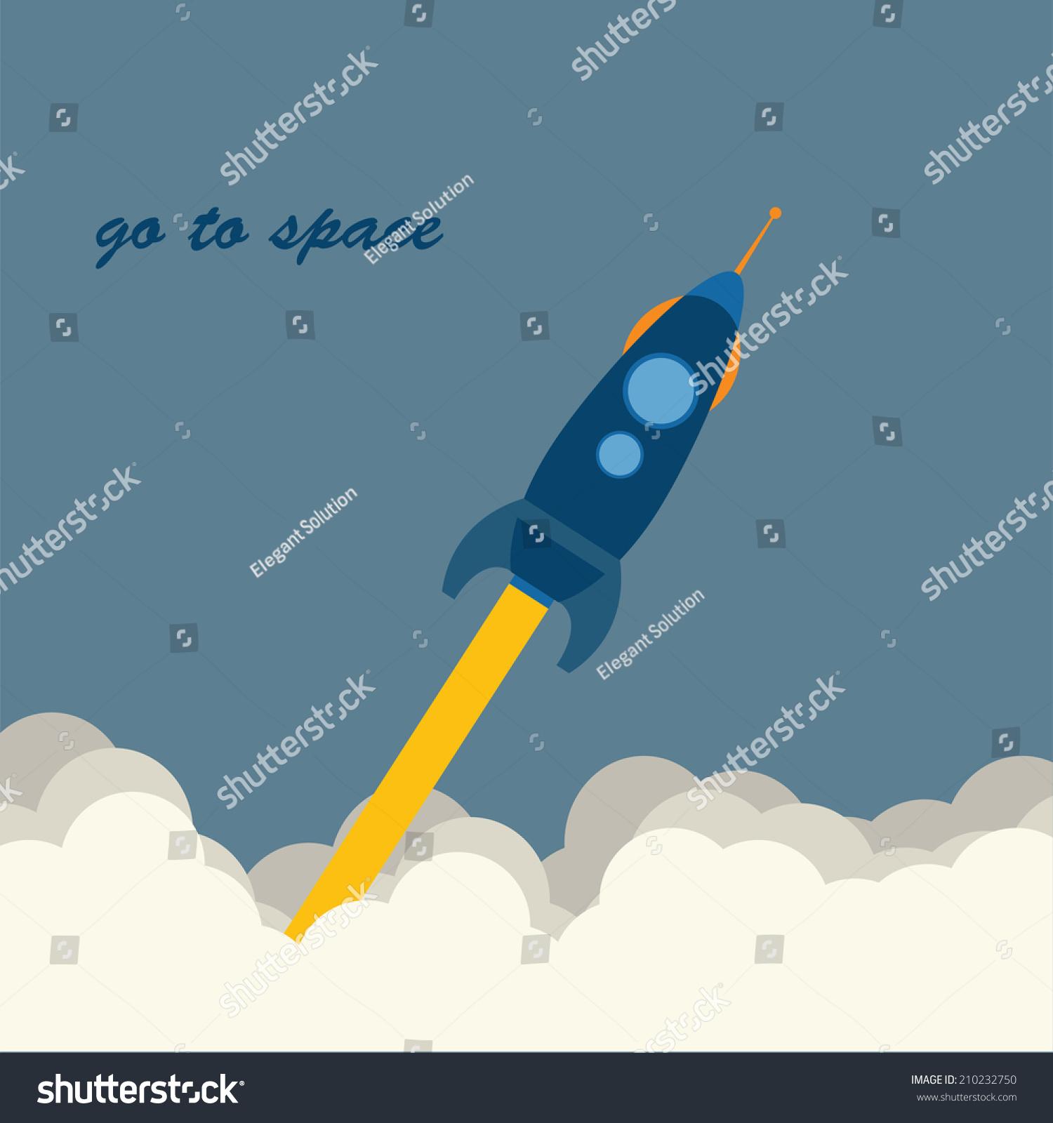Vector Flat Illustration Rockets Flying Sky Stock Vector