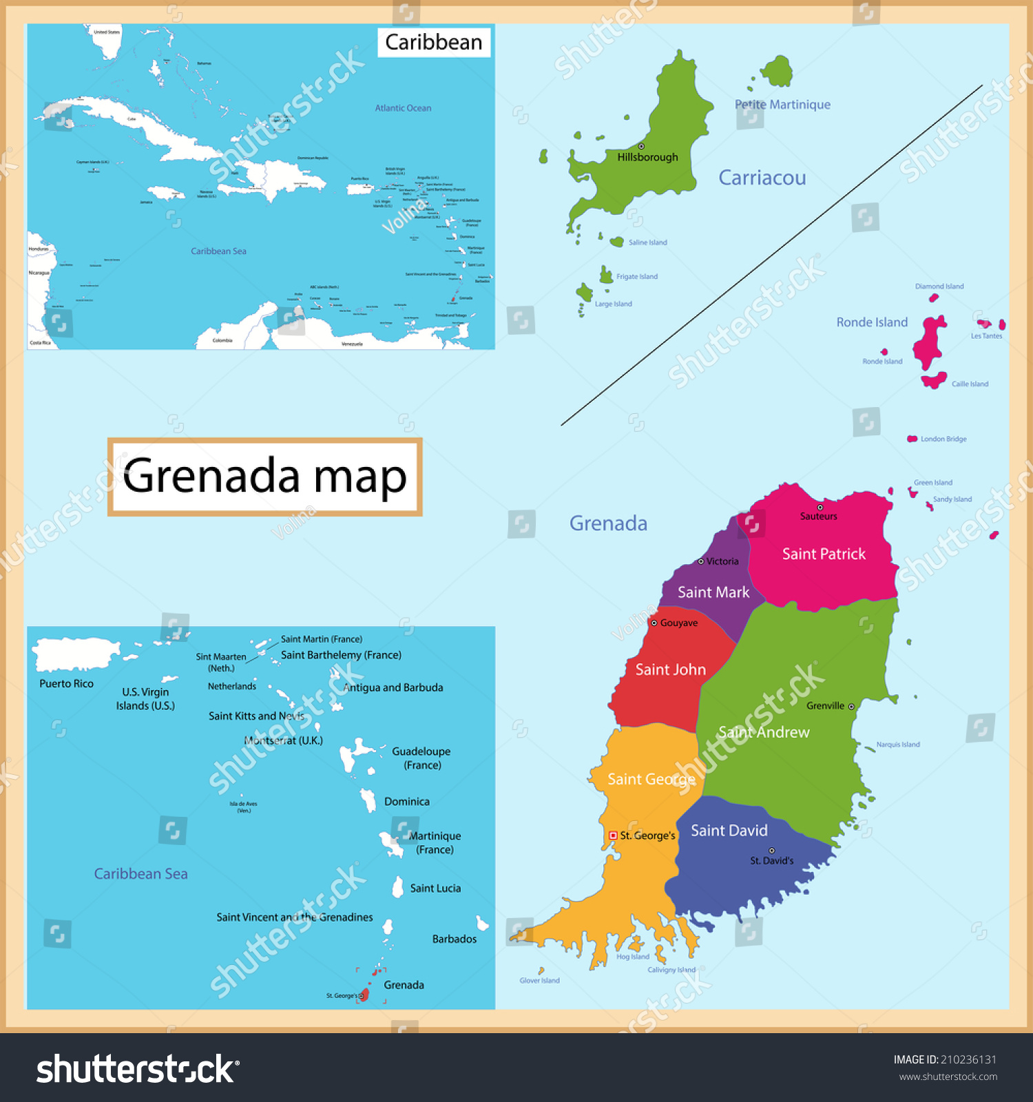 Map Grenada Drawn High Detail Accuracy Stock Vector - Map of grenada world