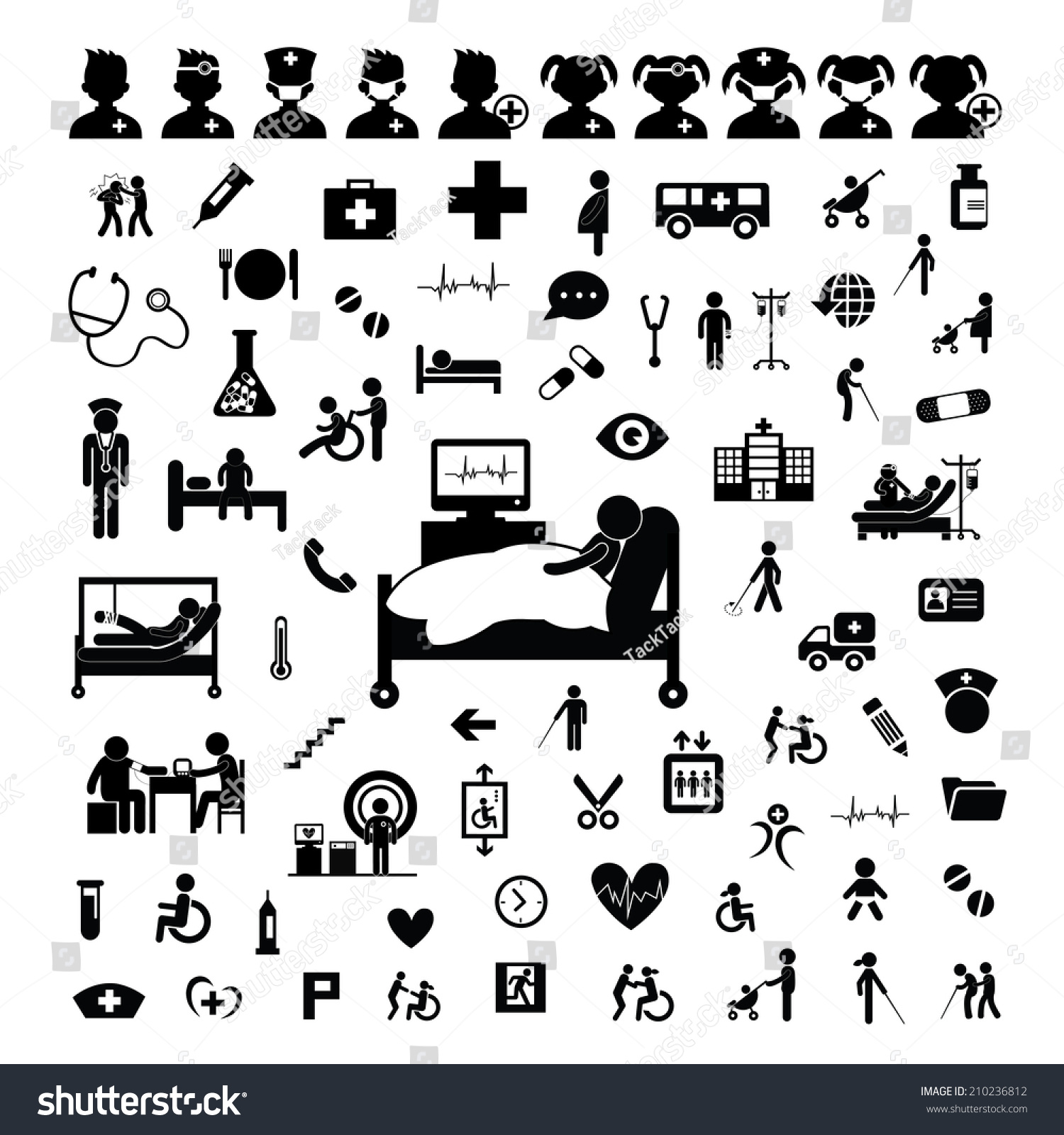 Doctor Icon And Hospital On White Background Stock Vector Illustration ...