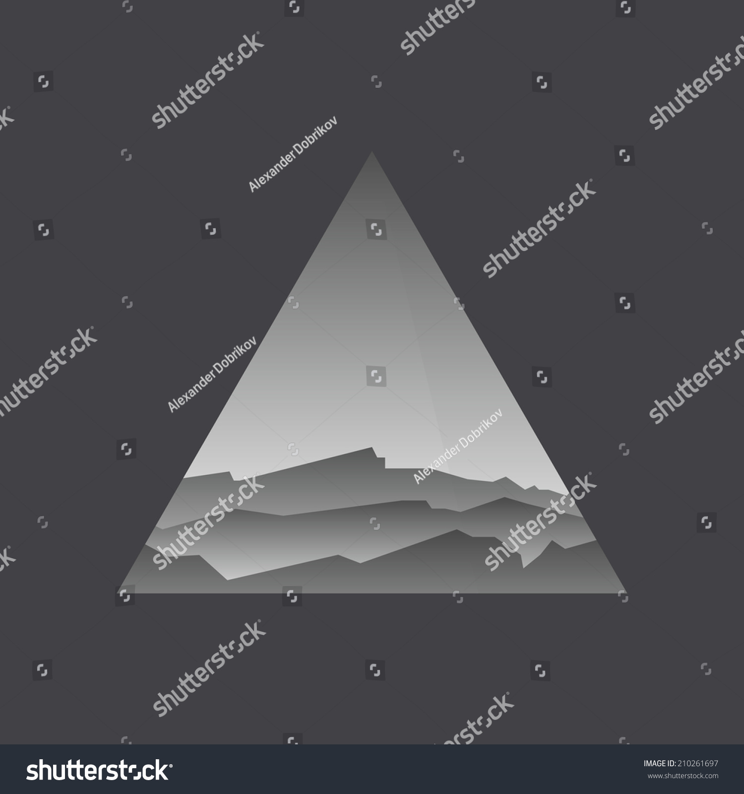 Triangle symbol with landscape black and white concept for Triangle concept architecture