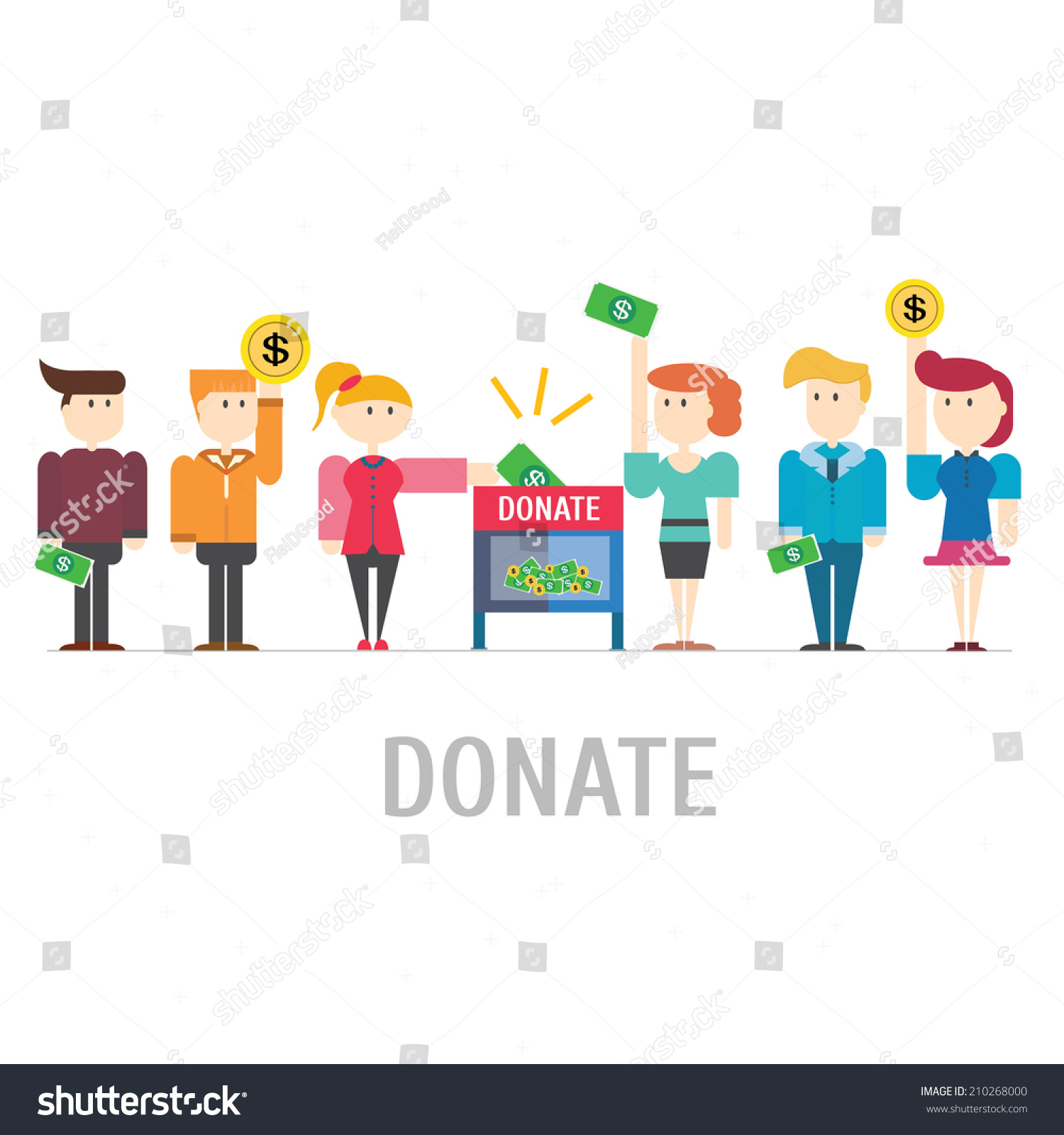 Many People Donate At Donation Box,Vector,Illustration ...