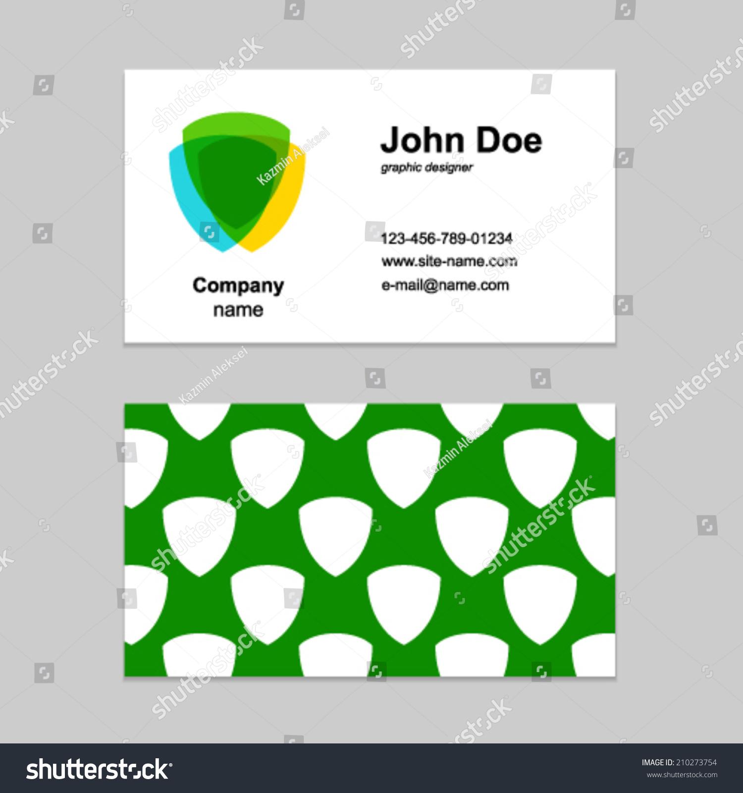 Three Shield Design Element Business Card Stock Vector 210273754 ...