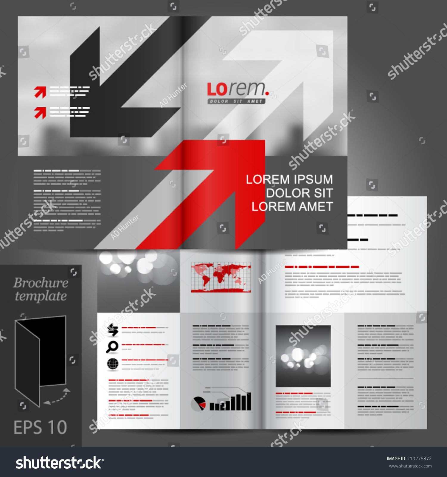 Gray Business Vector Brochure Template Design Stock Vector Royalty