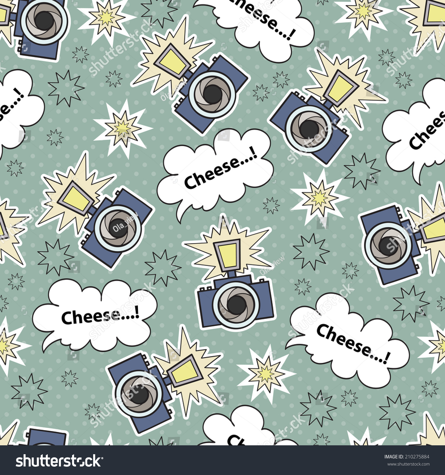 Vector Seamless Pattern With Cartoon Camera Background For Use In Design Web Site