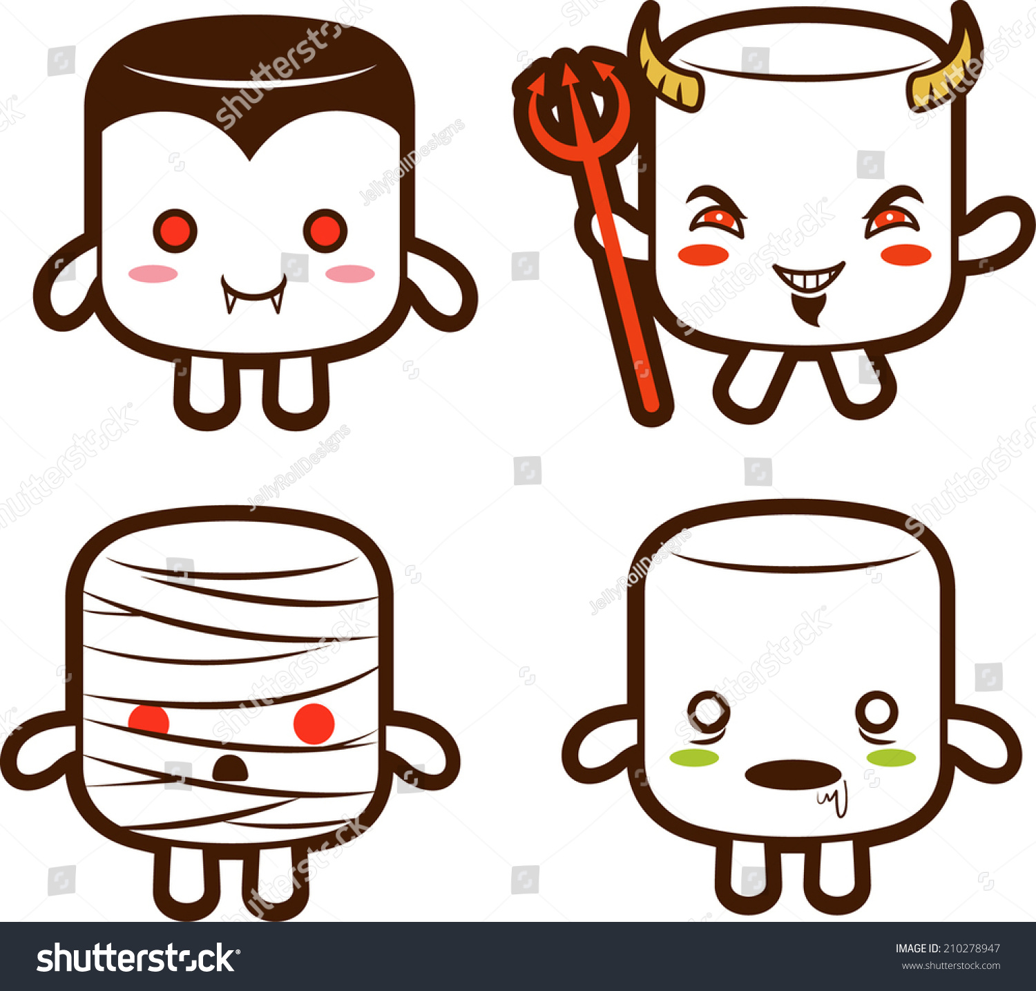halloween monster marshmallow characters vampire devil Scary Halloween Clip Art Zombie Apocalypse Clip Art