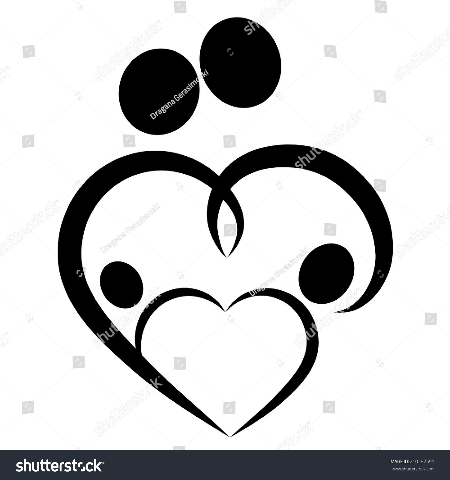 Family Love Heart Icon Parents Twins Stock Illustration ...