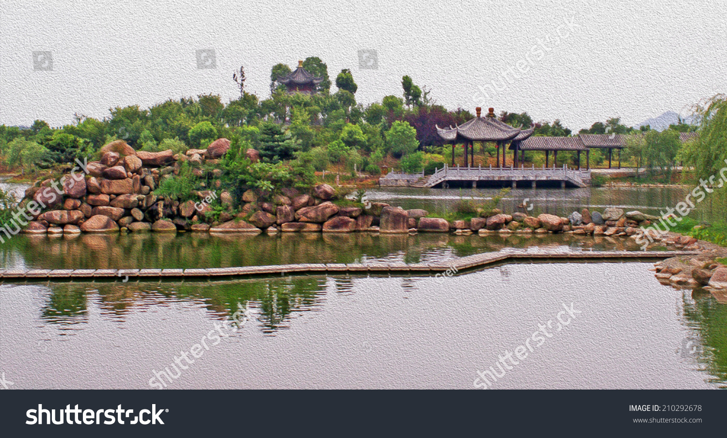 Generic Ancient Chinese Garden Architecture Stylized Stock