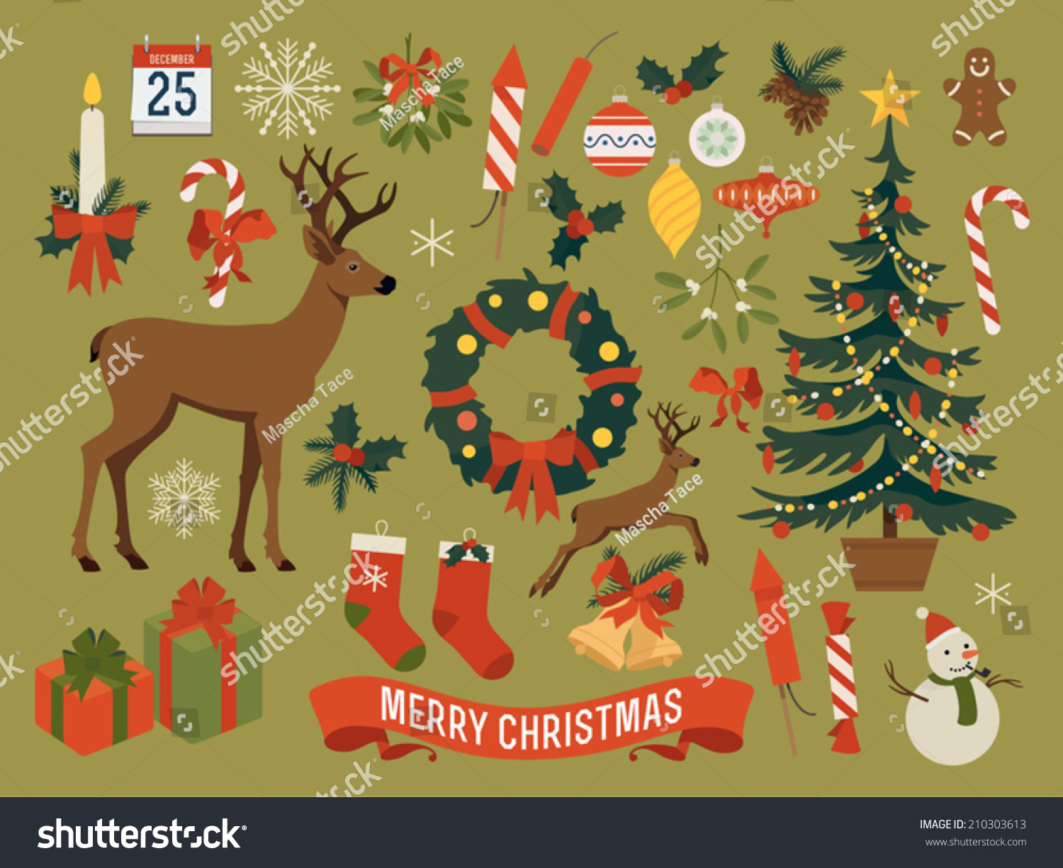 Vector collection christmas items elements decorations for Christmas tree items list