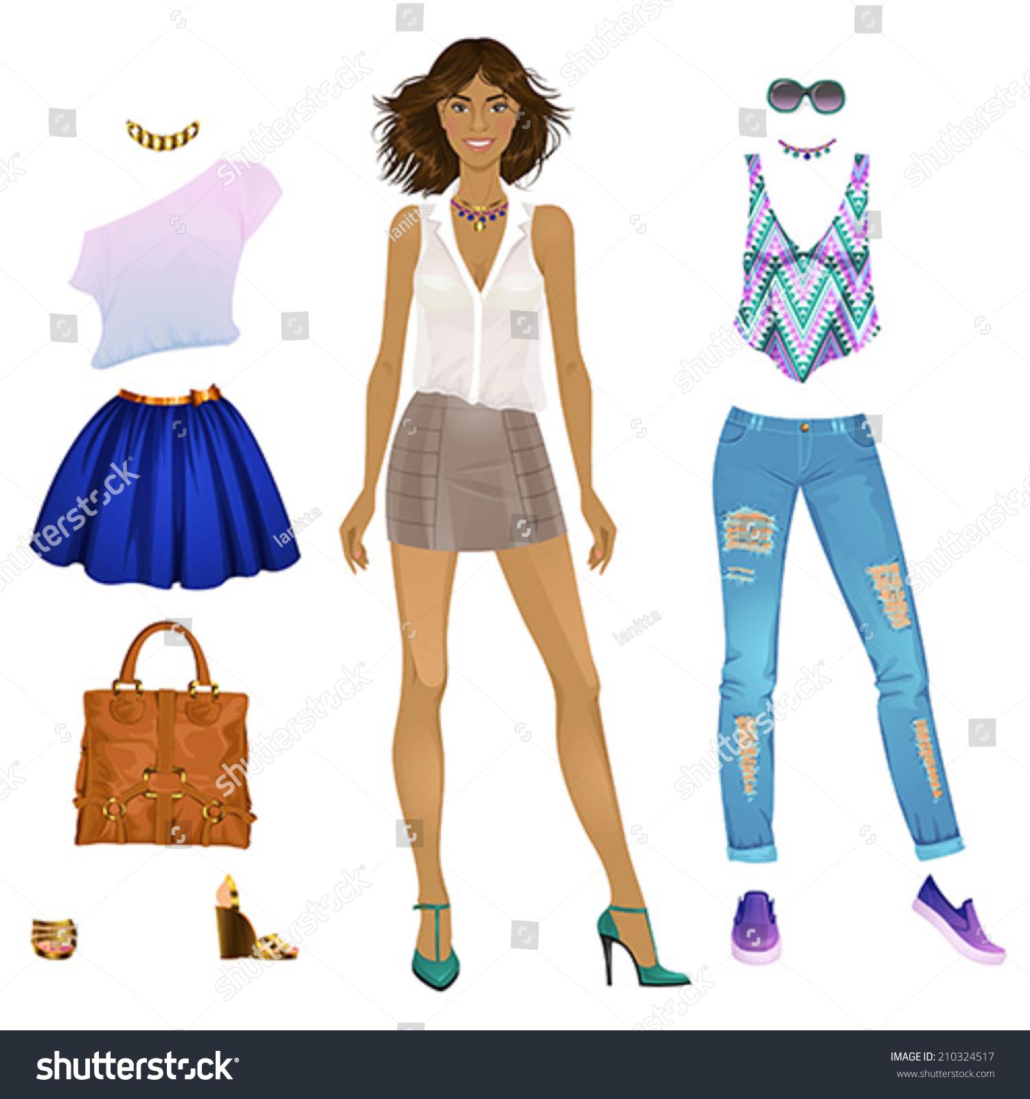 paper doll template woman - beautiful dress paper doll black woman stock vector
