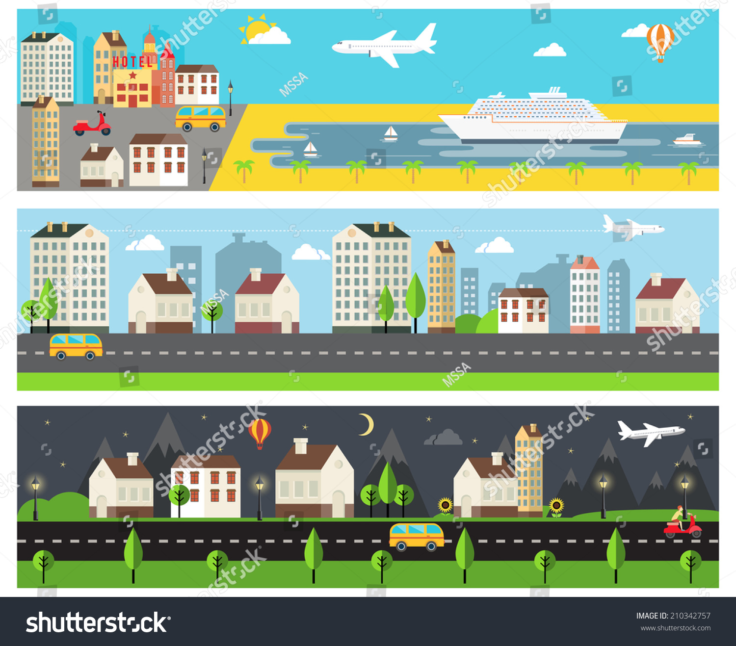 Cool Vector Cartooned Embankment Rural Urban Stock Vector