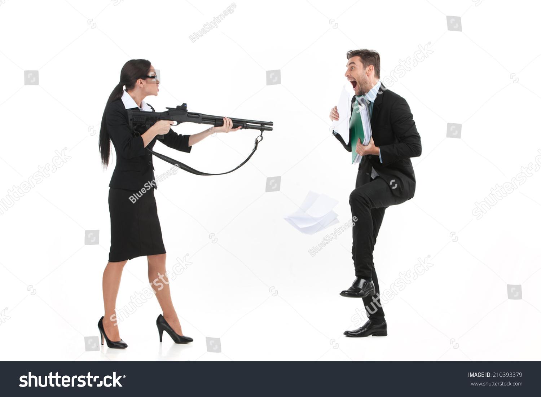 Woman Standing Over Man Quarrel Between Man An...