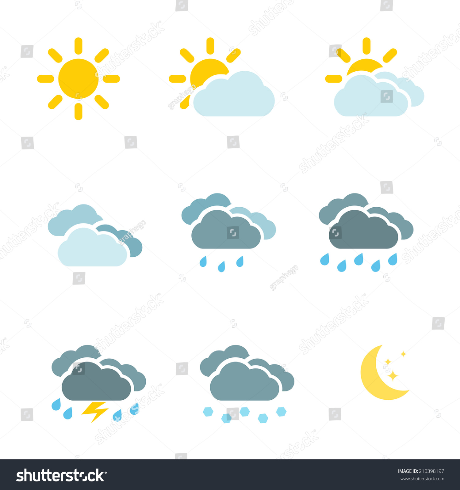 Weather Icons Set Colour Simple Flat Stock Illustration 210398197 ...