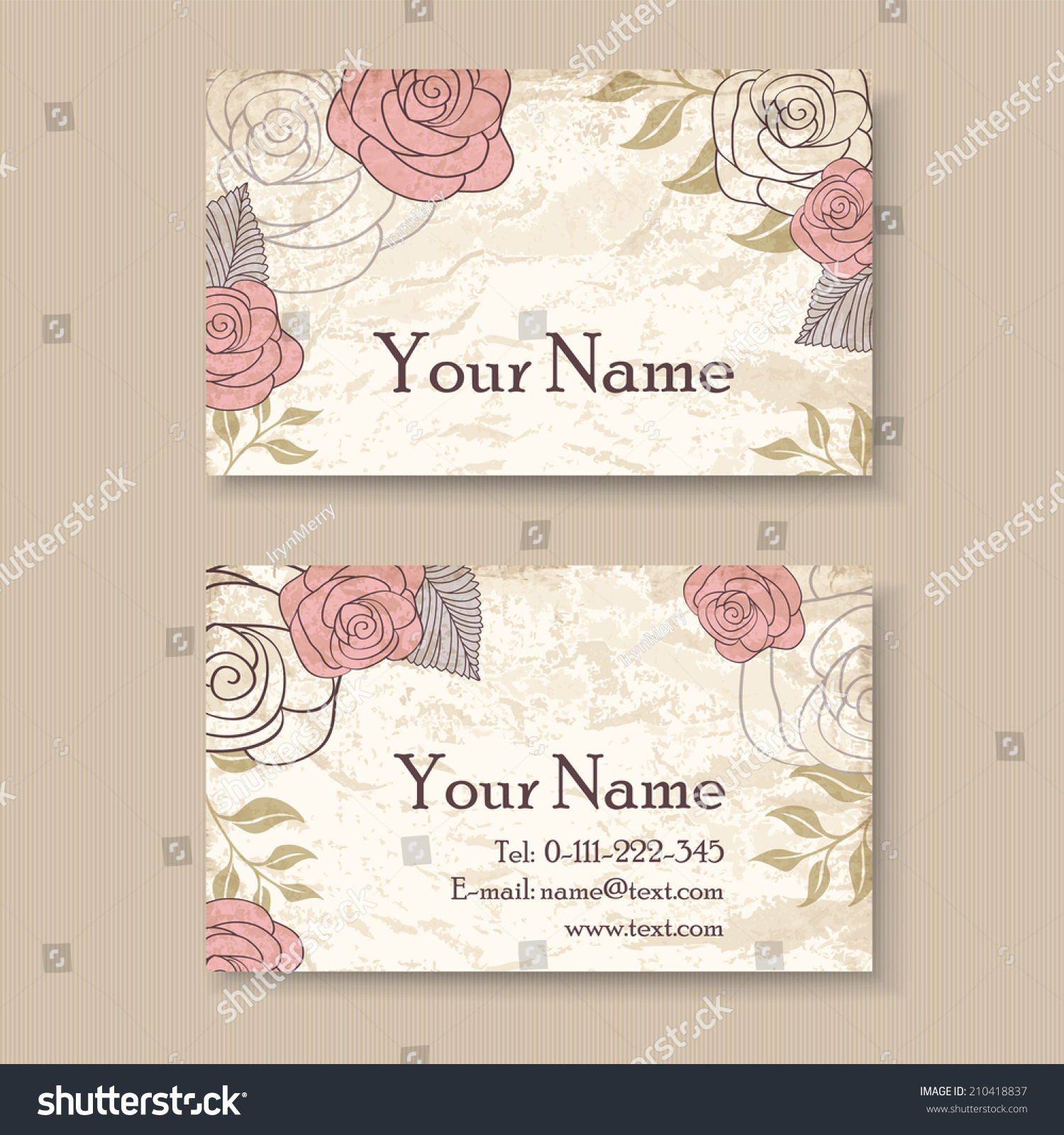 Vintage Floral Business Card Template Roses Stock Vector 210418837 ...