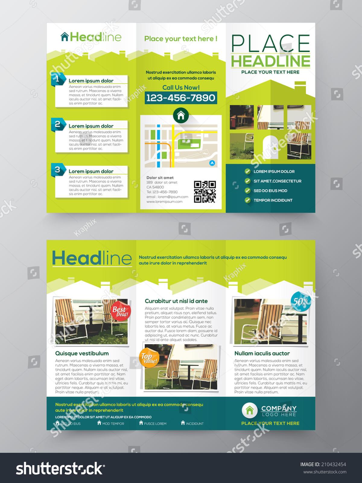 Real estate brochure flyer design vector template in a4 for Real estate brochure design templates