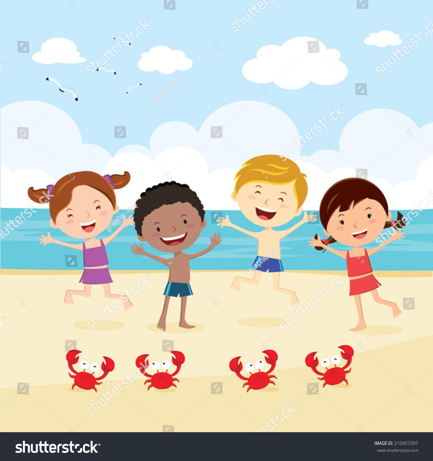 Happy Kids On Beach Kids Having Stock Vector 210457297 ...