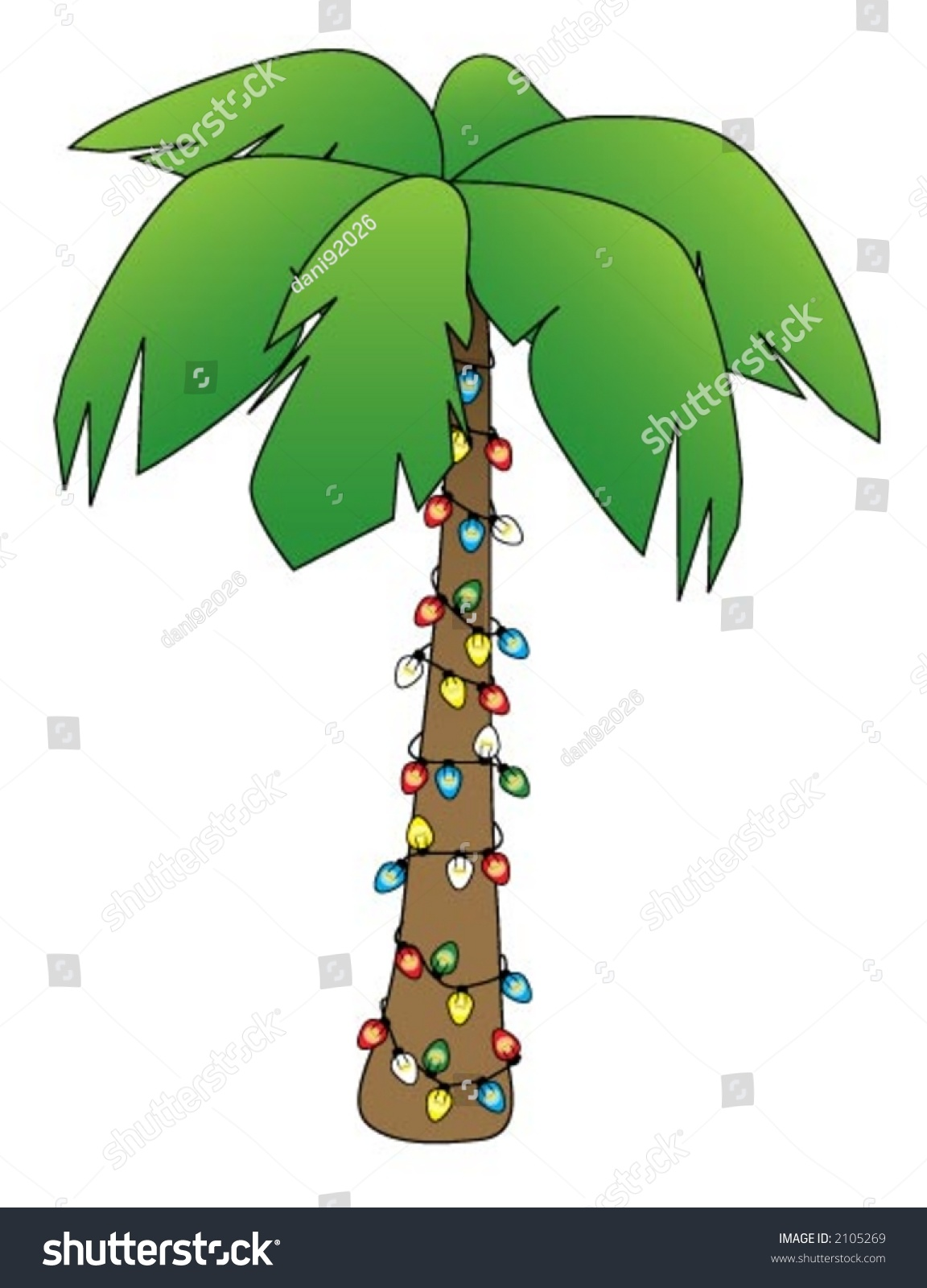 illustration of a palm tree decorated for christmas - Palm Christmas Tree
