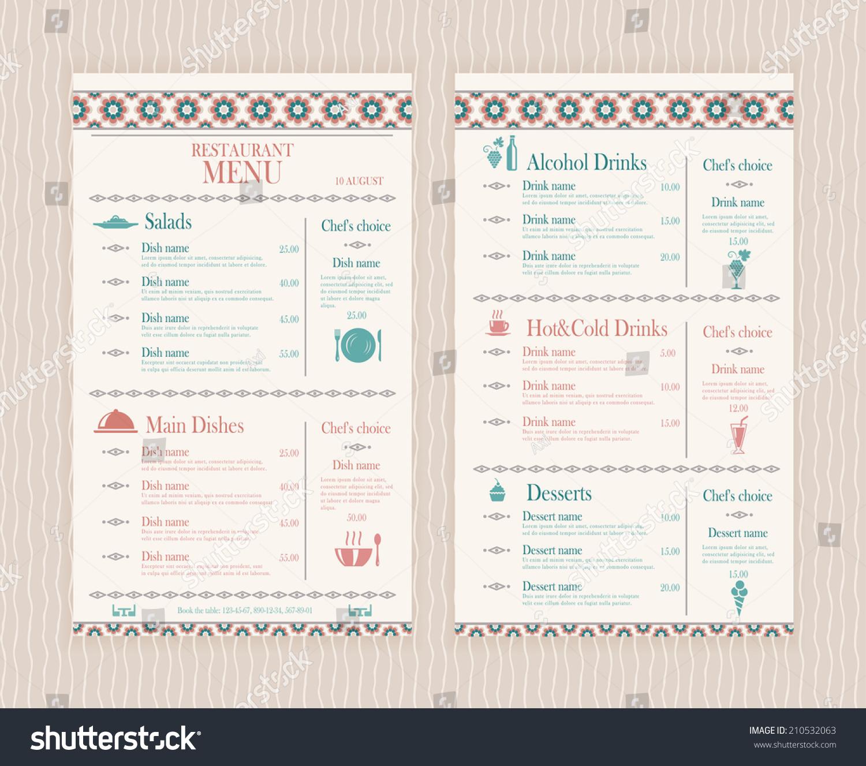 Elegant simple restaurant cafe menu list stock vector for Simple html menu template