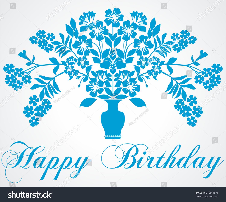 Bouquet Flowers Vase Happy Birthday Card Stock ...