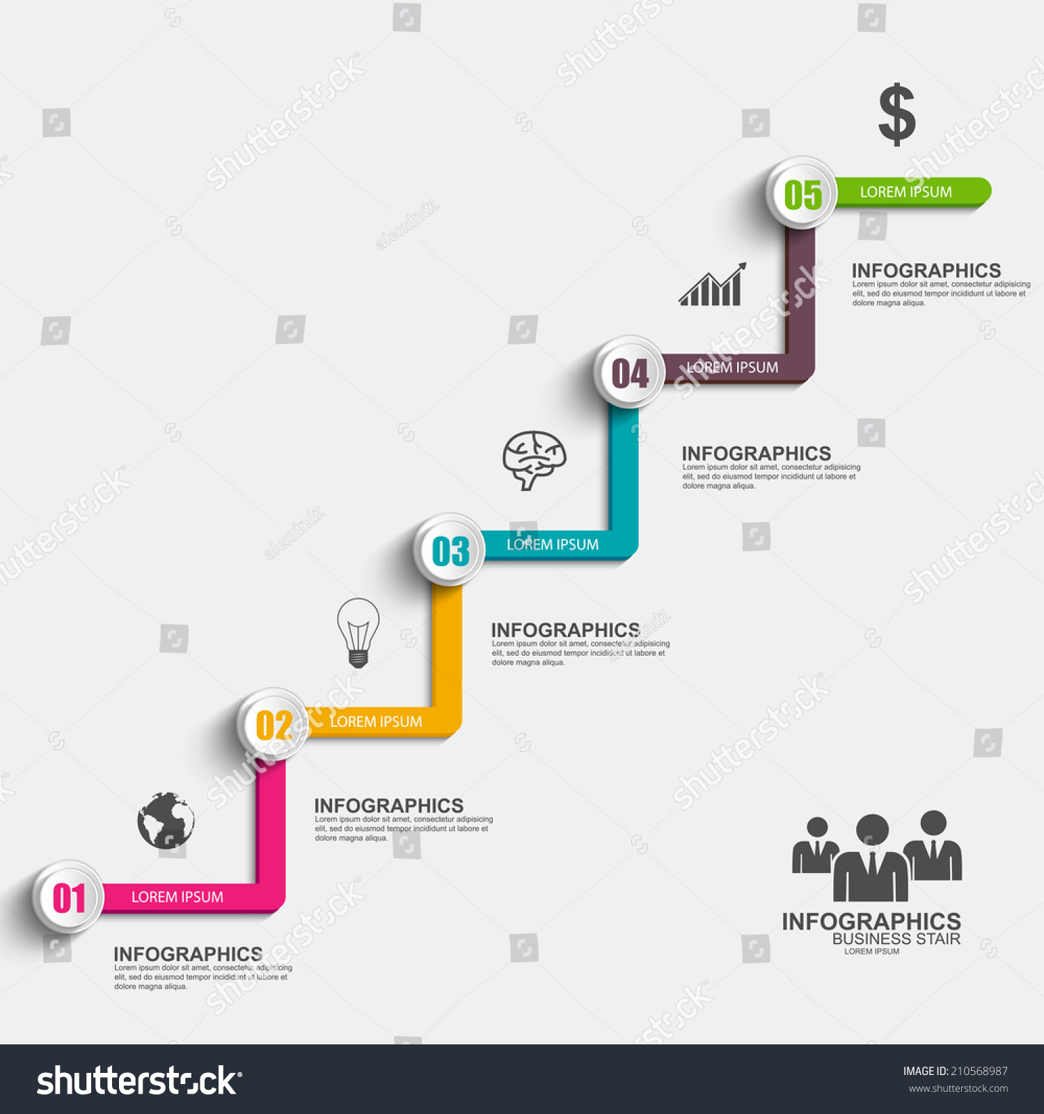 Infographics Business Stair Step Success Vector Stock