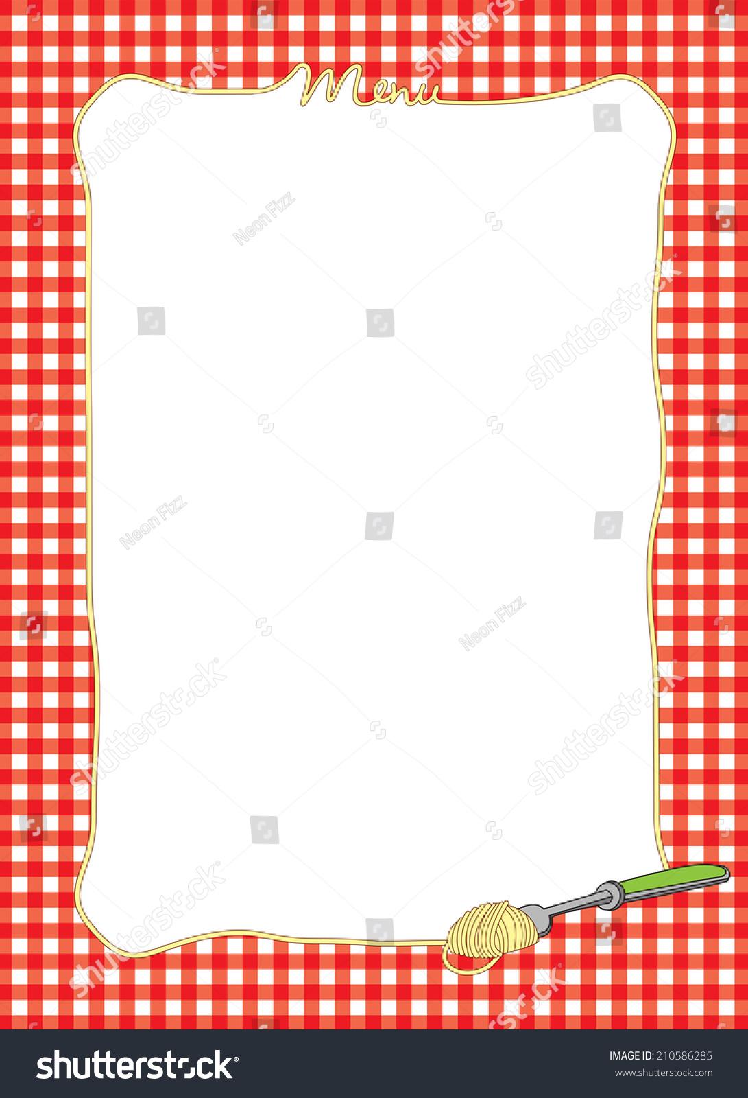 Decorative Menu Border Pasta Red Gingham Stock Illustration ...