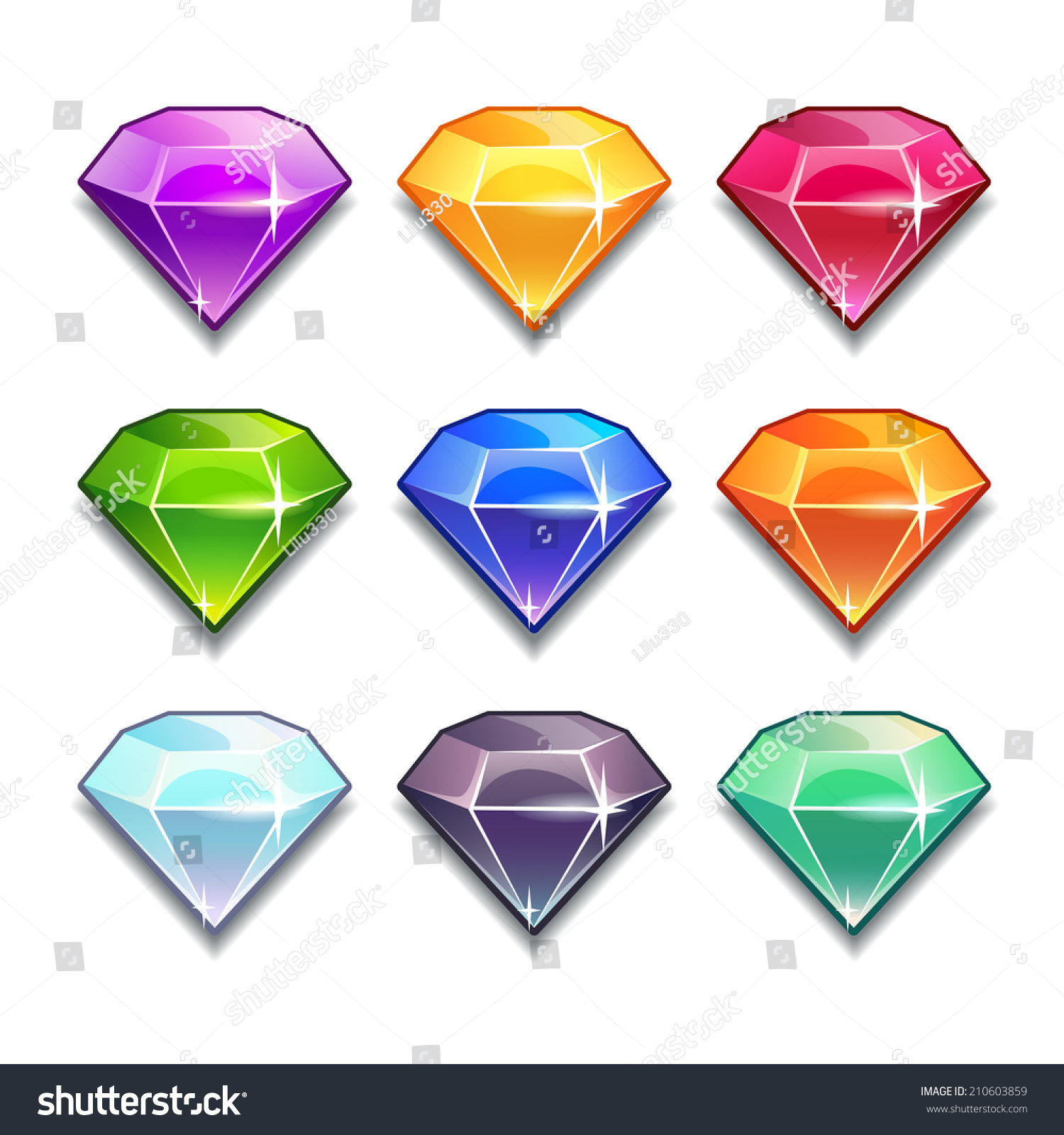 Cartoon Colored Marbles : Cartoon vector gems diamonds icons set stock