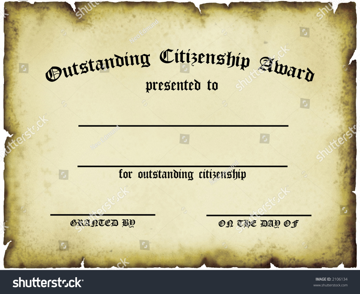 Outstanding Citizenship Award Certificate Stock Illustration 2106134