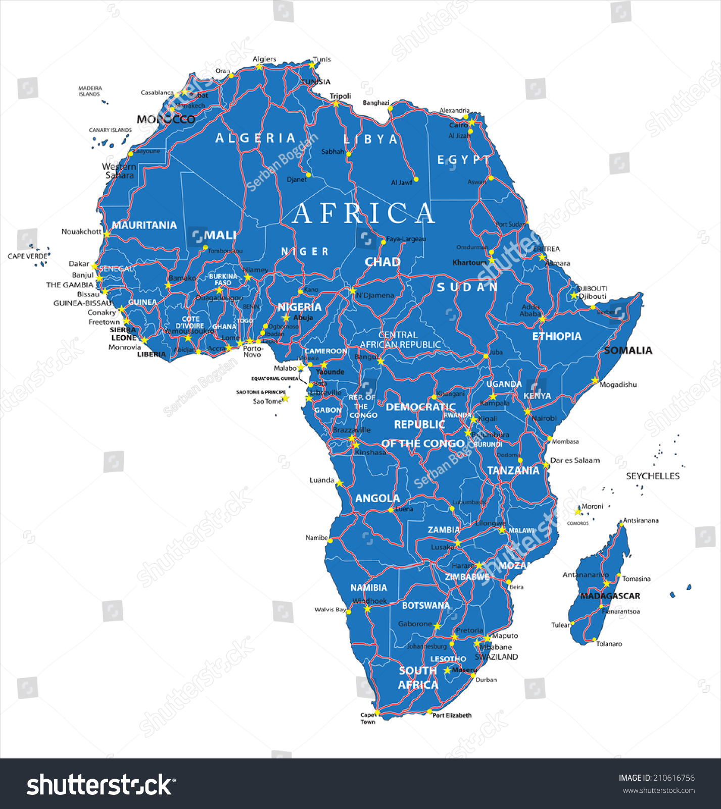 Africa Road Map Stock Vector Shutterstock - Angola road map