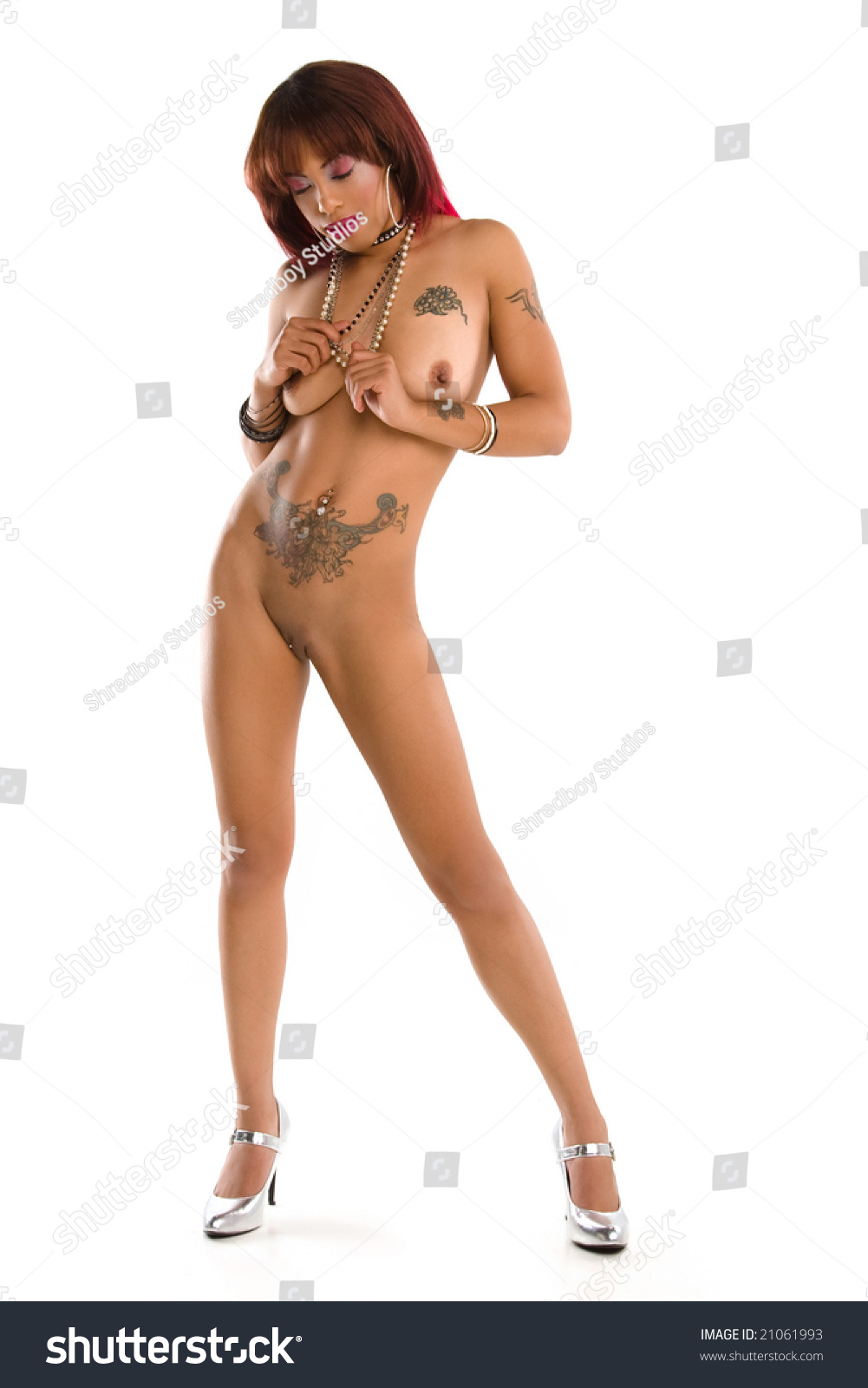 Sexy Nude Pinup Girl Standing White Stock Photo 21061993 -3770
