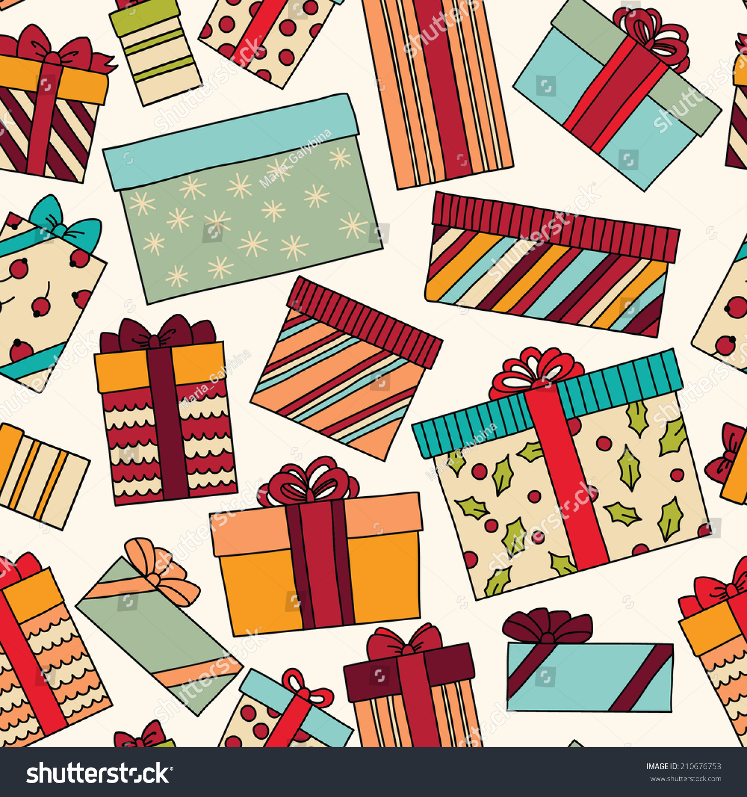 Vintage Christmas Birthday Seamless Pattern Gift Stock Vector