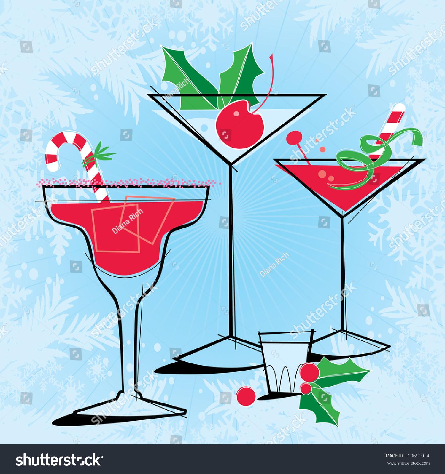 Retro-Style Holiday Cocktails Retro-Stylized Holiday