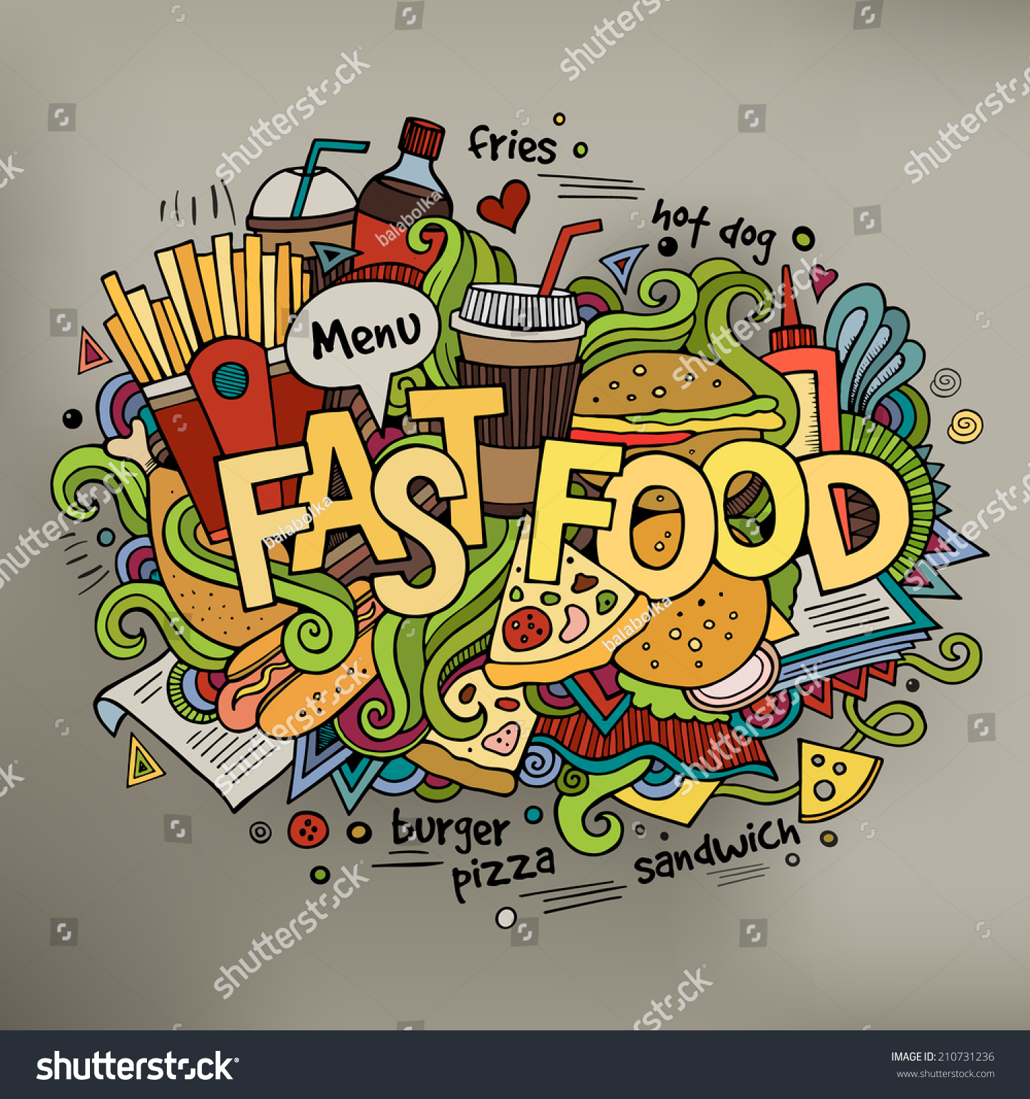 Stock vector music hand lettering and doodles elements - Fast Food Hand Lettering And Doodles Elements Background Vector Illustration